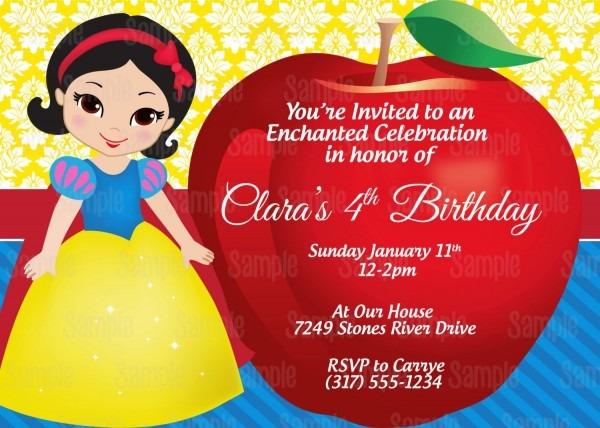 Printable Snow White Birthday Party Invitation