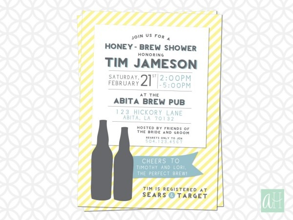 Printable 5in X 7in Honey Brew Shower Invitation Honey Do