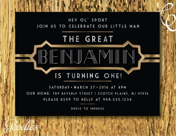 Great Gatsby Birthday Party Invitation Little Man First