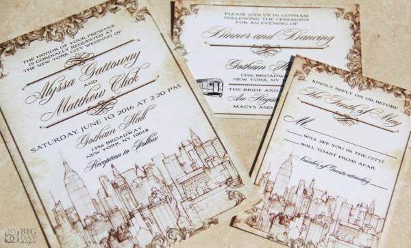 New York Themed Wedding Invitation Set  Vintage New York City