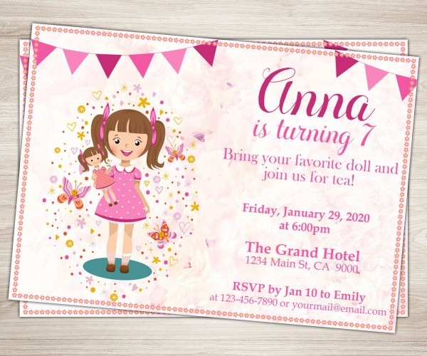 Baby Doll Party Invitation  Doll Girl 7th Birthday Invitation