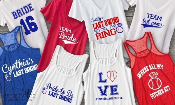 Baseball Themed Bachelorette Party Shirts