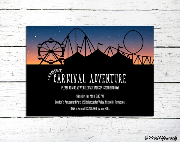 Carnival Invite    Personalized Printable Carnival At Night