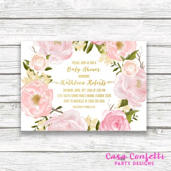 Floral Baby Shower Invitation, Girl Baby Shower Invitation, Pink And