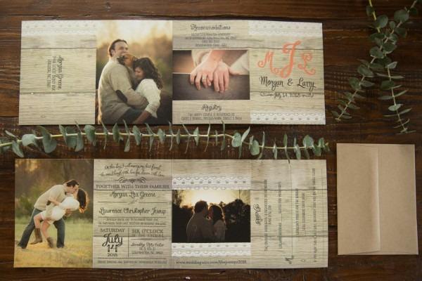 Wedding Invitations   Rustic All In One Accordion Fold Wedding