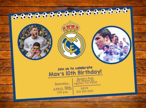 Real Madrid Futbol Soccer Personalized Invitation Digital