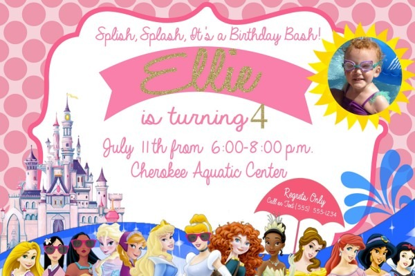 Disney Princess Swimming Party Invitation Cinderella Ariel