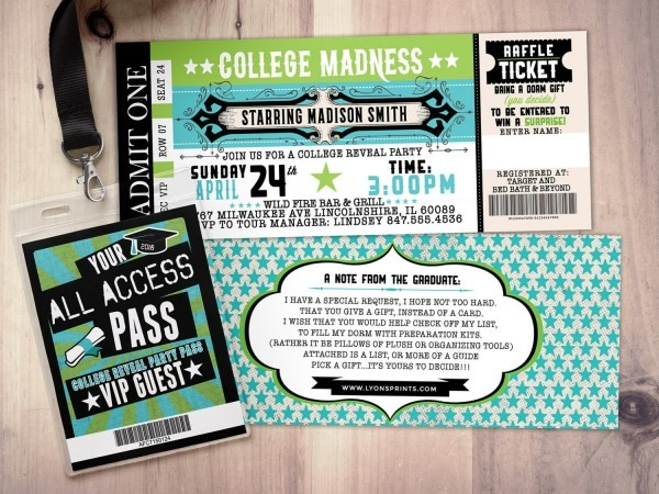 College Reveal Party, Concert Ticket, Graduation Party Invitation
