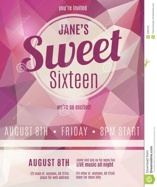 Invitation Flyer For Sweet Sixteen Party Stock Vector