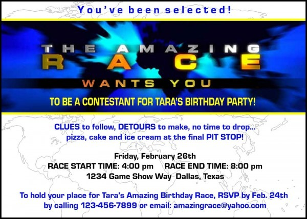 Paper Perfection  Free  Amazing Race  Birthday Party Invitation