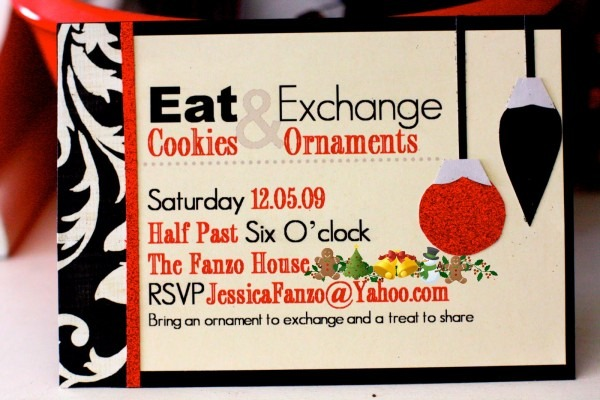 Party Love ♥  Ornament Exchange Cookie Party Invitation