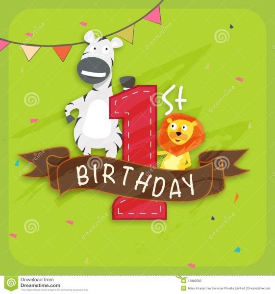 Kids 1st Birthday Invitation Card  Stock Illustration