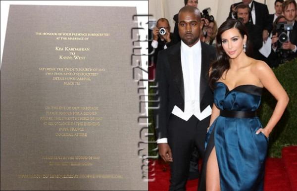 Kim Kardashian And Kanye West's Wedding Invitation Unveiled