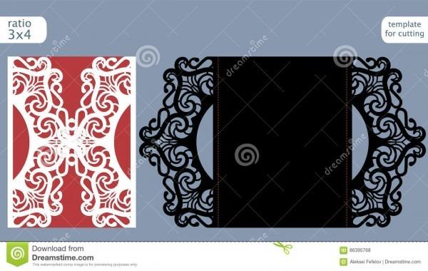 Laser Cut Wedding Invitation Card Template Vector  Die Cut Paper