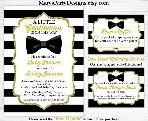 Little Gentleman Baby Shower Invitation