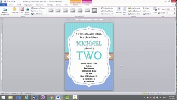 Birthday Invitation Template For Ms Word