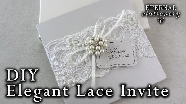 Elegant Beaded Lace And Brooch Wedding Invitation
