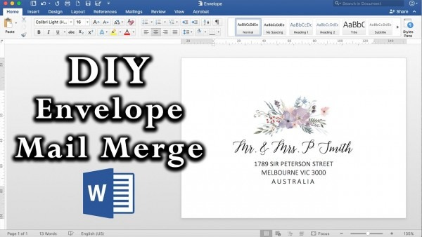 How To  Easy Envelope Mail Merge In Ms Word