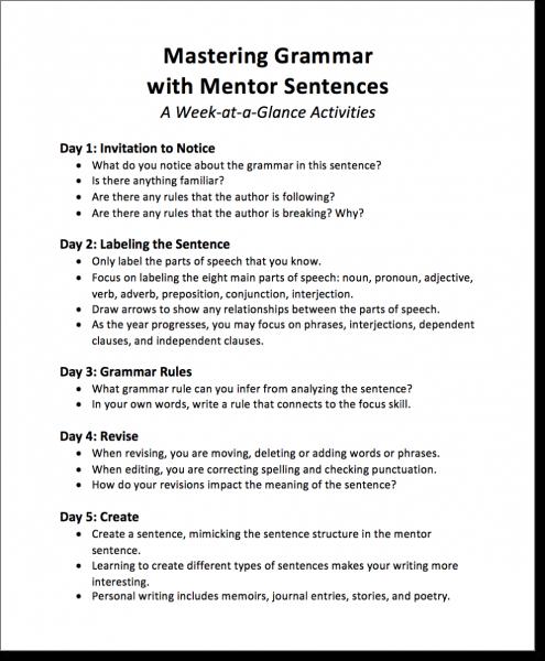 Mastering Grammar With Mentor Sentences, Part 2