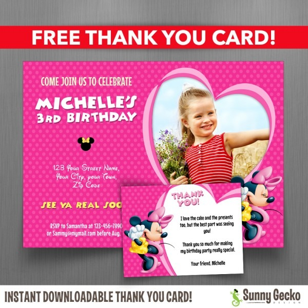 Minnie Mouse 7x5 In  Birthday Party Invitation With Free Editable