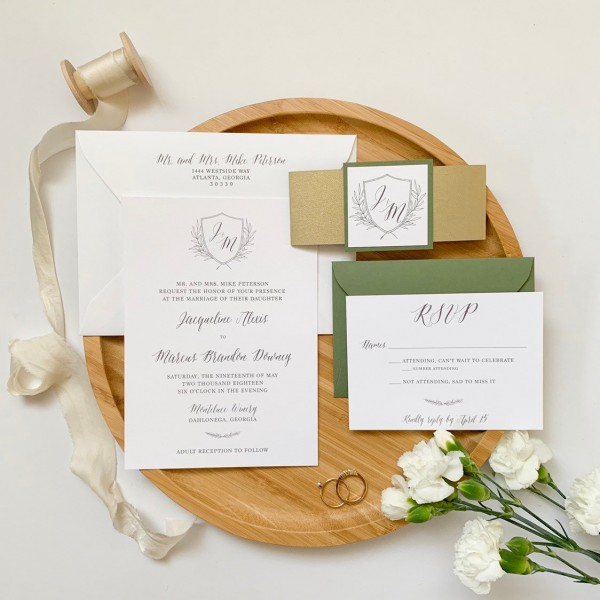 Tuscan Inspired Monogram Wedding Invitation With Bellyband