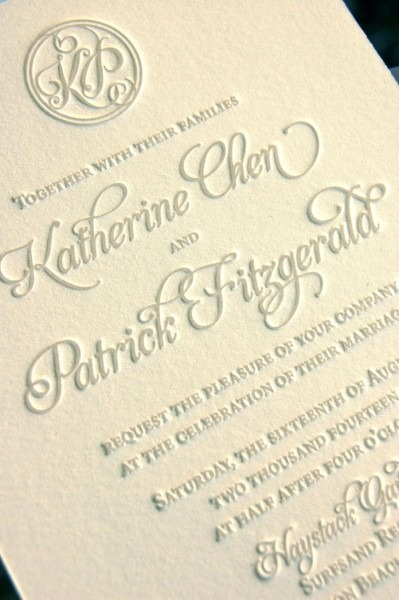 Monogram Wedding Invitations, Letterpress Invitations, Soft Gray