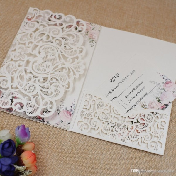 More Color Laser Cut Luxury Wedding Invitations Cards With Rsvp