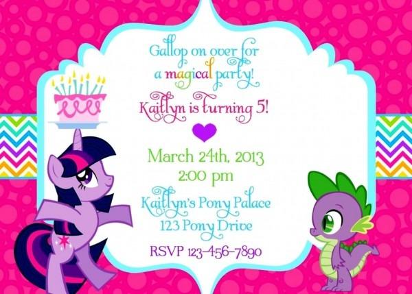 My Little Pony Party Invitations Birthday Invitation Wording