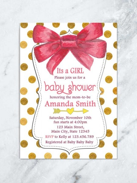 Its A Girl Baby Shower Invitation, Red Bow Baby Shower Invitation