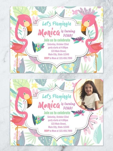 Flamingo Kids Birthday Invitation, Let's Flamingle Invitation