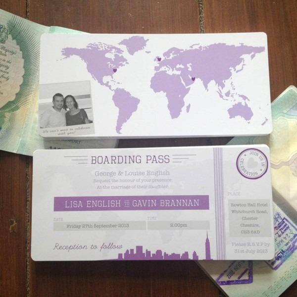New York Boarding Pass Wedding Invitation