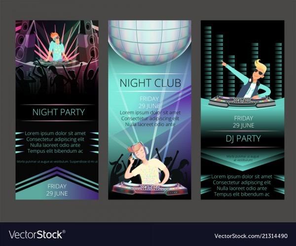 Night Club Invitation Cards Dj Party Royalty Free Vector