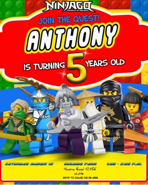 Ninjago Lego Birthday Invitation
