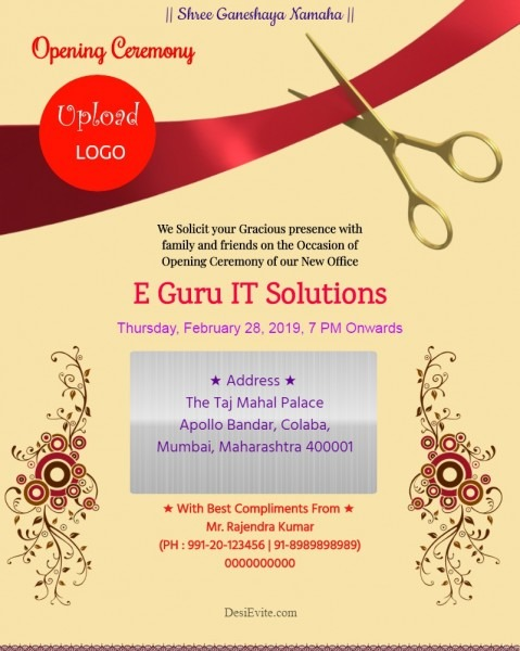 Free Office Inauguration Opening Invitation Card & Online Invitations