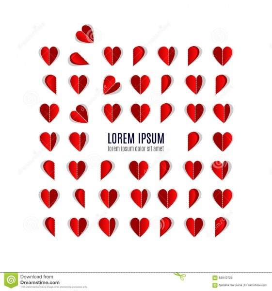 Origami Heart, Hearts Made Of Paper Stock Vector