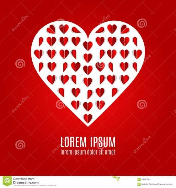 Origami Heart Love Poster Stock Vector  Illustration Of