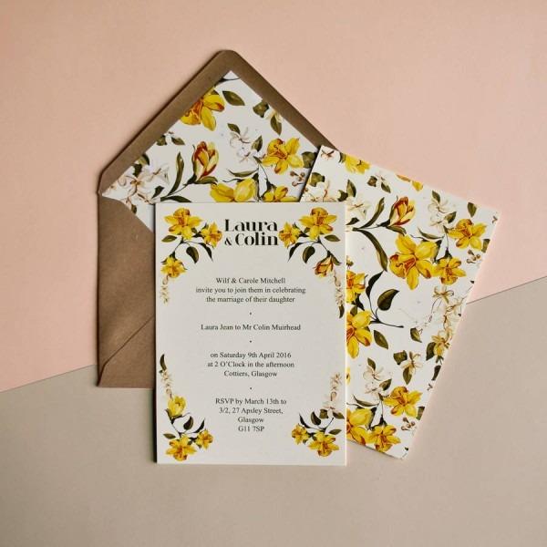 Daffodil Wedding Invitation By Skinny Malink