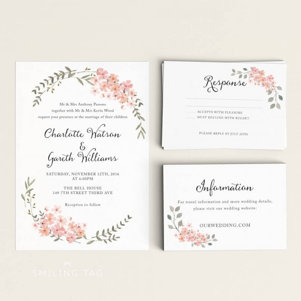Watercolor Floral Garden Wedding Invitation Printable – Smilingtag