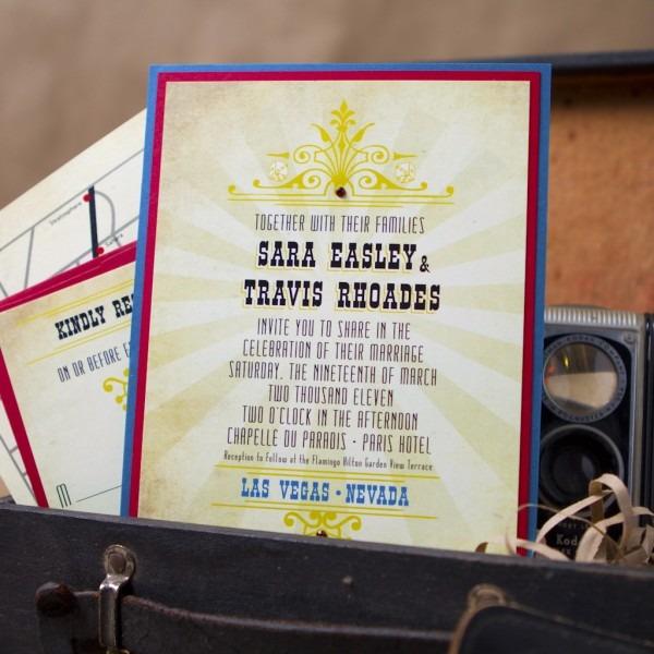 Vintage Vegas Wedding Invitation (pocket Card)
