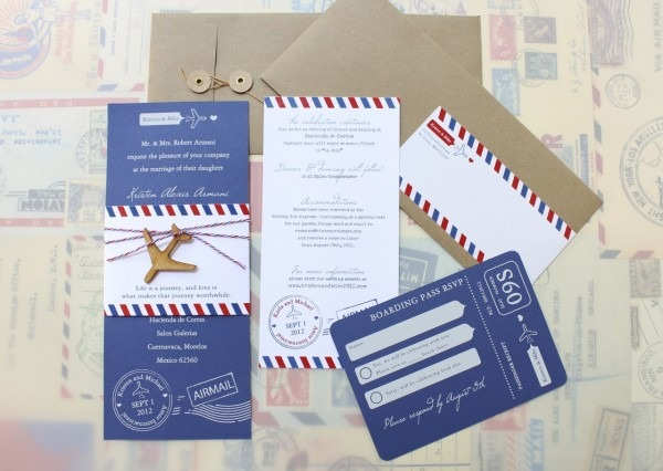 Modern Air Mail Wedding Invitation (mexico)