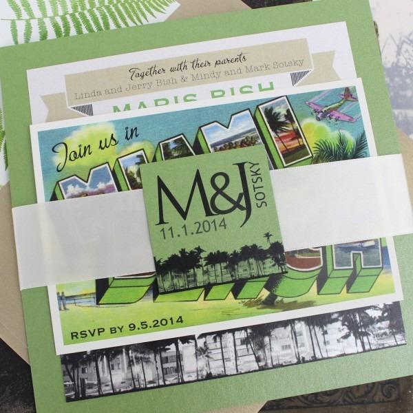 Retro Layered Wedding Invitation (miami, Florida)