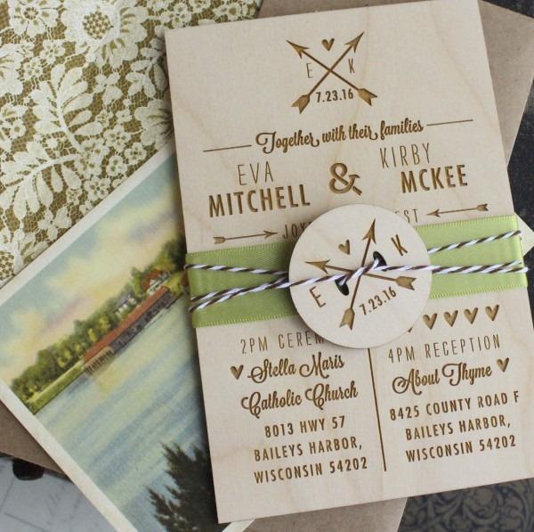 Rustic Wedding Invitation (wood Engraved)