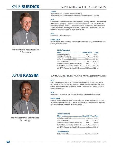 2016 South Dakota State Cross Country Media Guide By South Dakota