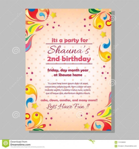 Party Birthday Invitation Template With Colorful Splash Stock