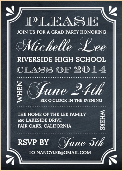 Party Invitations  Elegant Free Graduation Party Invitations