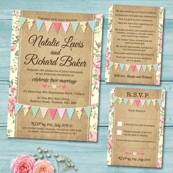 Pastel Bunting Wedding Invitation Set