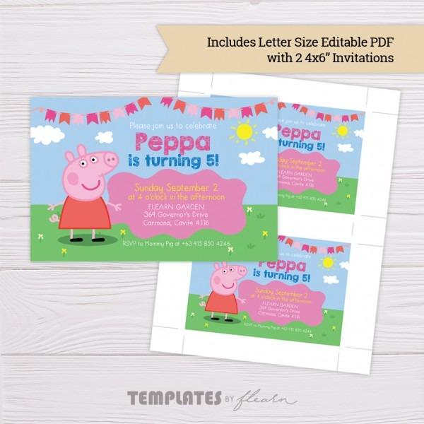 Free Peppa Pig Invitation Template – Flearn Ph