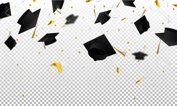 Photostock Vector Graduate Caps And Confetti On A Transparent