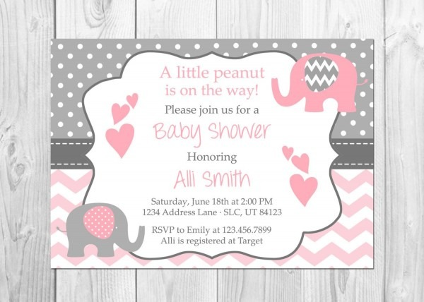 Pink And Grey Elephant Baby Shower Invitation It39s A Girl Lush