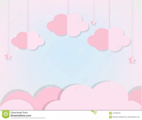 Pink Clouds And Stars In Soft Blue Sky  Background In Paper Cut